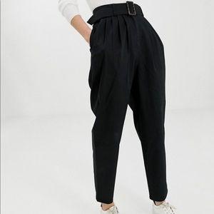 ASOS Design High Waisted Black Belted Peg Pants